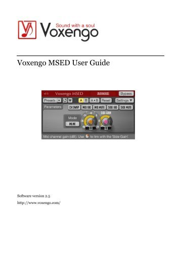 Voxengo MSED User Guide