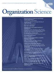 Front Matter (PDF) - Organization Science - Institute for Operations ...