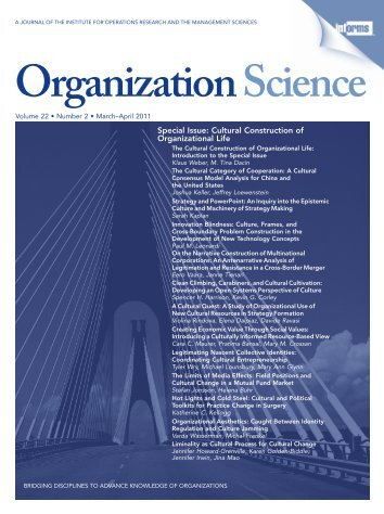 Front Matter (PDF) - Organization Science - Informs