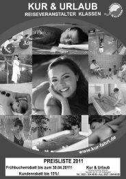 PREISLISTE 2011 - Kur und Urlaub Reiseveranstaltungen R.Klassen