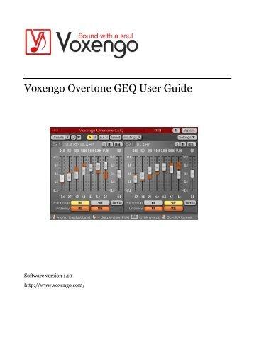 Voxengo Overtone GEQ User Guide