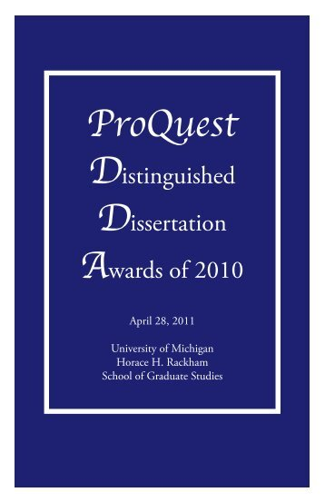 ProQuest - Rackham Graduate School - University of Michigan