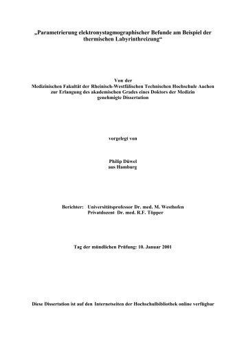 Parametrierung elektronystagmographischer Befunde am Beispiel der