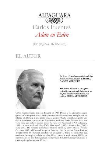 Carlos Fuentes Adán en Edén - Alfaguara