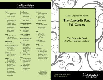 November 11, 2012 Fall Concert Printed Program - Concordia College