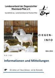Ziegeninfo Nr. 67 - März 2012 - Landesverband der Ziegenzüchter ...