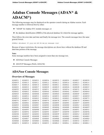 Adabas Console Messages †ADAN* & ADACM*‡ - Software AG ...