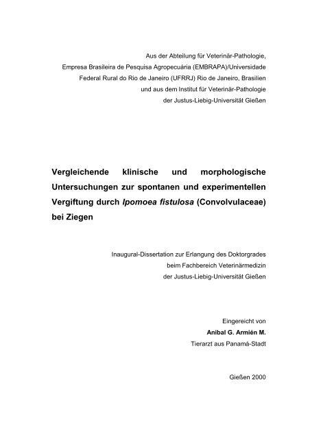 Vergleichende klinische und morphologische Untersuchungen zur ...