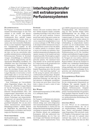 Interhospitaltransfer mit extrakorporalen Perfusionssystemen