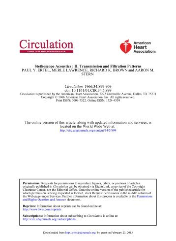 Stethoscope Acoustics - Circulation