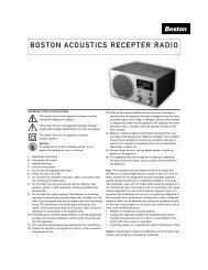 Boston Acoustics Recepter Radio Manual - C. Crane Company