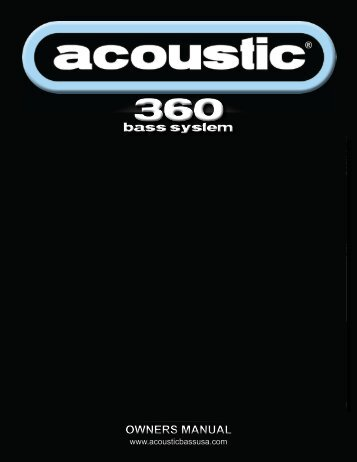 acoustic 360 manual - Acoustic USA, Home of the 360