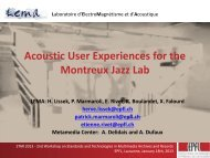 Acoustic User Experiences for the Montreux Jazz Lab - Multimedia ...