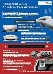 FPS Car Audio System A New Era of Plane Wave Speaker