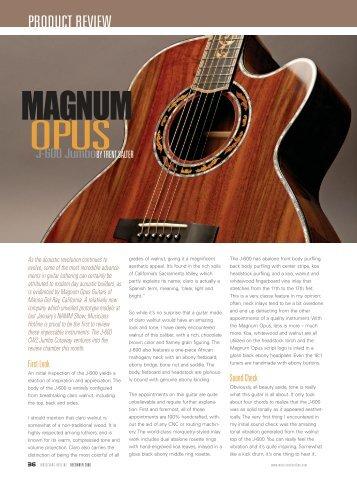 See full review. - MAGNUM OPUS GUITARS
