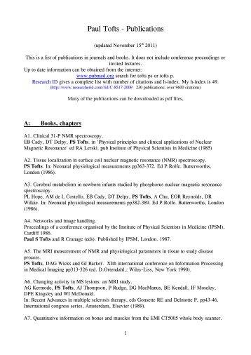 Paul Tofts - Publications - Paul Tofts PhD