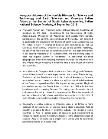 Text of Minister's Speech - Indian National Science Academy