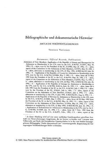 Bibliographische und dokumentarische Hinweisel - Zeitschrift für ...