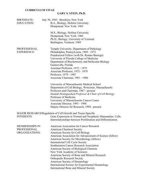 CURRICULUM VITAE GARY S  STEIN, Ph D  BIRTHDATE - Space