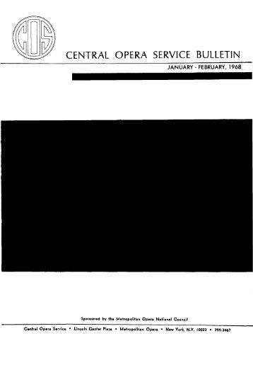 Central Opera Service Bulletin - January - February, 1968