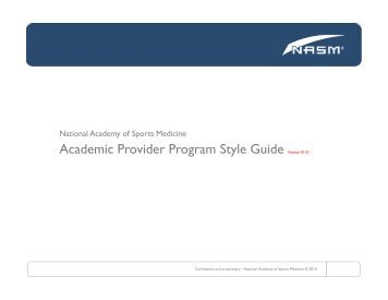 Academic Style Guide - National Academy of Sports Medicine