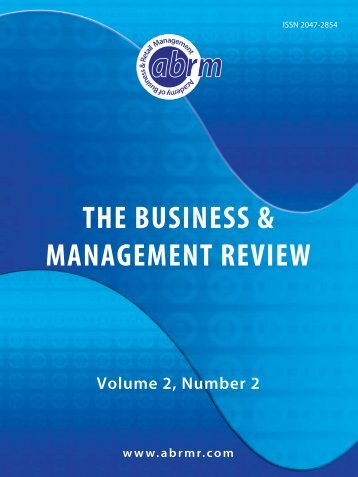 THE BUSINESS & MANAGEMENT REVIEW - The Academy of ...