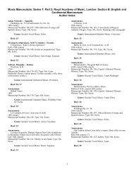 Music Manuscripts: Series 7: Part 2: Royal Academy of Music ...