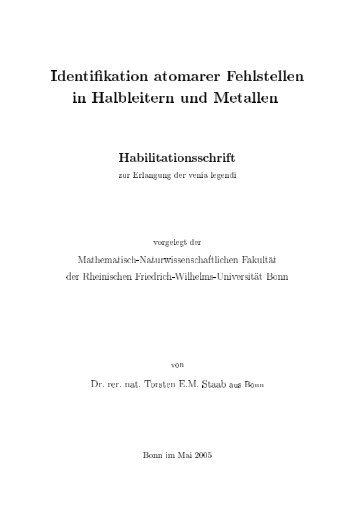 Identifikation atomarer Fehlstellen in Halbleitern und Metallen