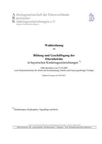 Wahlordnung zu Bildung und Geschäftsgang der ... - ABK