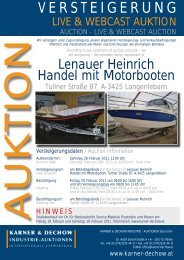 VERSTEIGERUNG - Karner & Dechow Industrie Auktionen