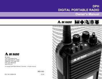 DPH DIGITAL PORTABLE RADIO Owner's Manual - RELM Wireless ...