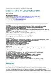 Infodienst Eltern 15 - Januar/Februar 2005