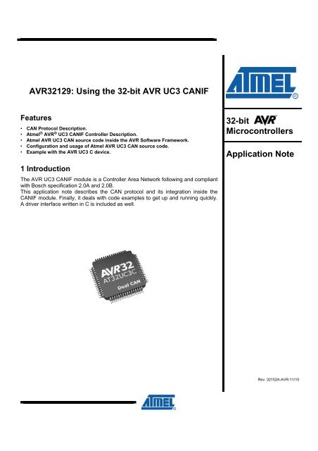 AVR32129: Using the 32-bit AVR UC3 CANIF - Atmel Corporation