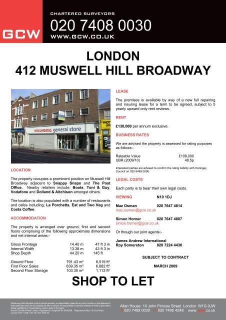 London 412 Muswell Hill Broadway Shop To Let Gcw