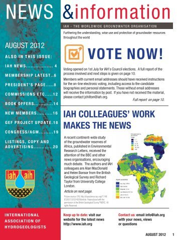 NEWS &information - International Association of Hydrogeologists