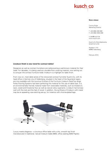Press release Linoleum - Kusch+Co