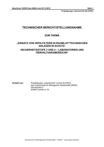 Stellungnahme zum Einsatz von HEPA-Filtern in ...