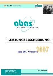 LEISTUNGSBESCHREIBUNG abas-ERP / Automotive