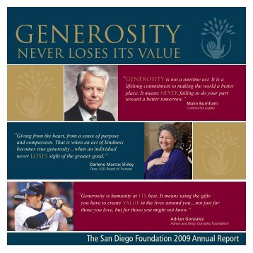 GENEROSITY - San Diego Foundation