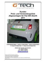 original Kunden Preisliste Abgasanlagen Fiat 500 Abarth ... - G-Tech