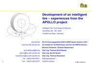 Development of an intelligent tire – experiences from the ... - ika