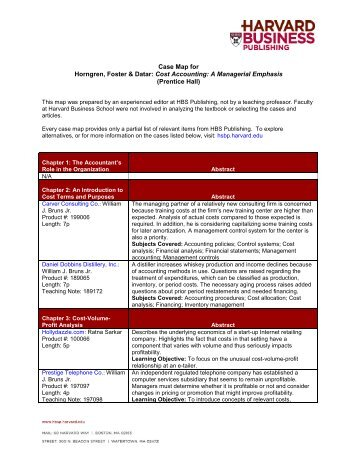 Case Map for Horngren, Foster & Datar: Cost Accounting - Harvard ...