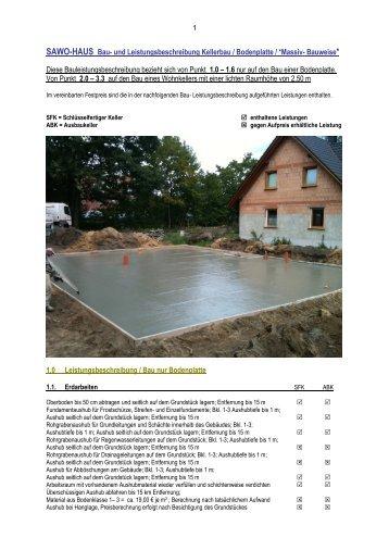 SAWO-HAUS Bau- und Leistungsbeschreibung Kellerbau ...