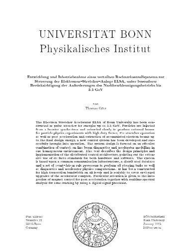 UNIVERSIT . . AT BONN Physikalisches Institut - Elsa