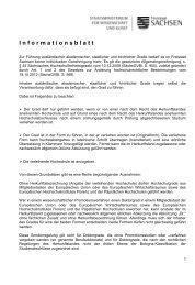 1 I n f o r m a t i o n... - Studieren in Sachsen - Freistaat Sachsen