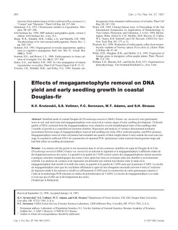 Effects of megagametophyte removal on DNA yield and early ...