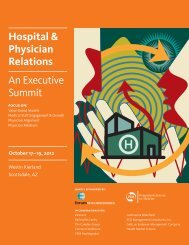 Hospital & Physician Relations An Executive Summit - Healthcare ...