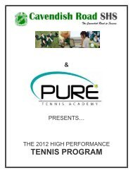 PURE TENNIS ACADEMY Cav Rd SHS HAND OUT 2012