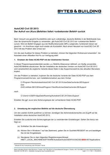 AutoCAD Civil 3D 2013: Der Aufruf von (Kurz-)Befehlen liefert ...