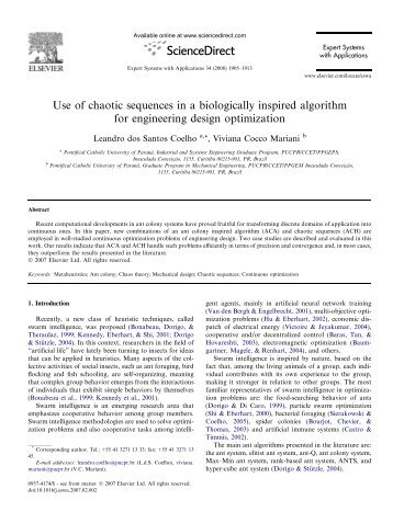 Use of chaotic sequences in a biologically inspired algorithm for ...